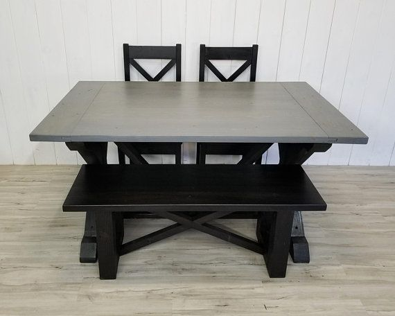 Solid Wood Kitchen Sets Cabinets Remodel Farmhouse Dining Set With 2 Chairs 1 Bench Table X Trestle Base Back Black Gray Or