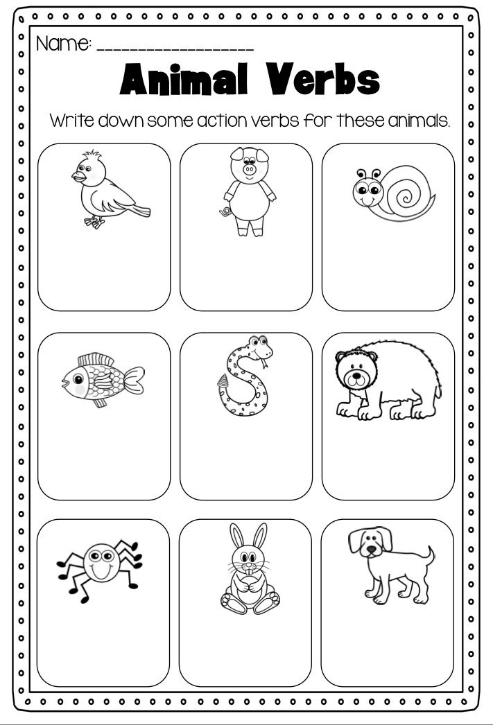 Verbs Printable Worksheet Pack  Kindergarten First Second Grade
