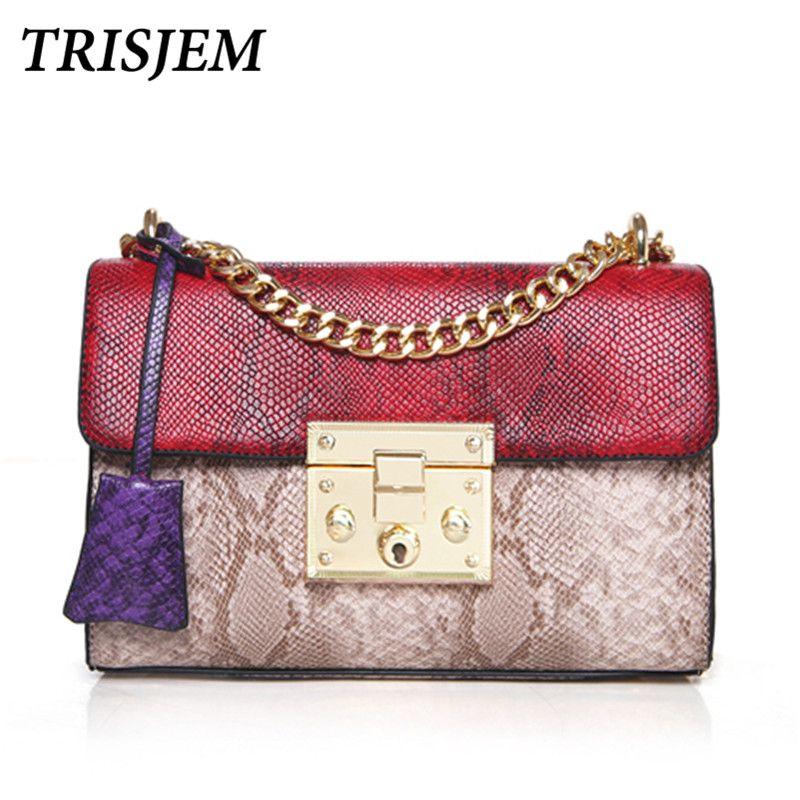 luxury handbags women bags designer famous brand vintage female serpentine messenger  bag snake lock chain patchwork crossbody 55795c3e82