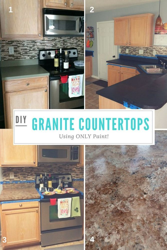 Totally transform old laminate countertops to look like granite only using  paint