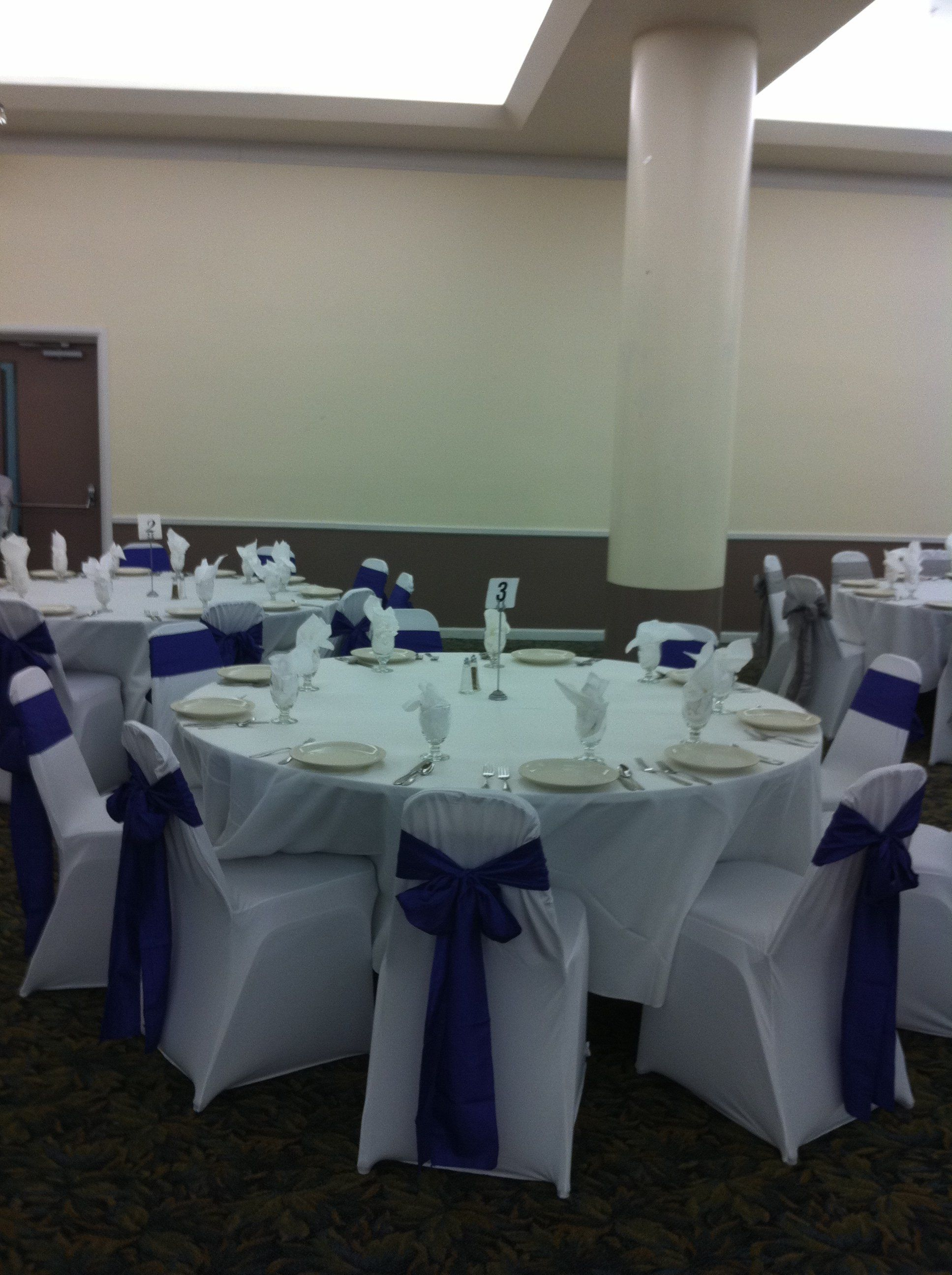 White Spandex Chair Covers With Navy Chair Ties Spandex Chair