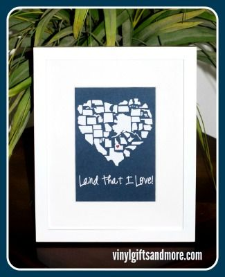 Land That I Love States Heart Vinyl Only States Patriotic