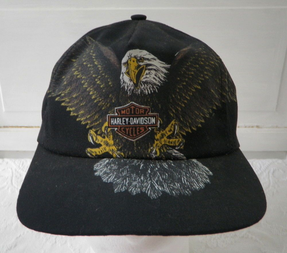 Harley Davidson Black Bald Eagle Snapback Trucker Baseball