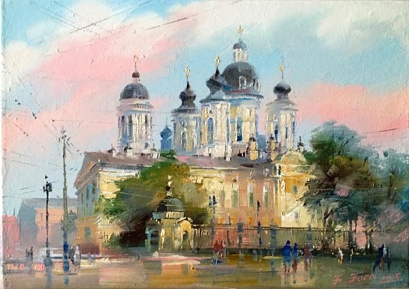 Картина Владимирский собор Санкт-Петербург, автор Бэгги ...  Дождливый Город Картина