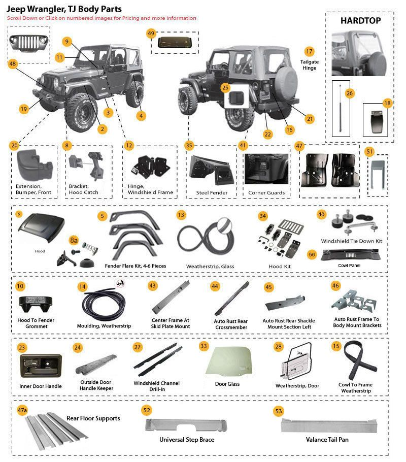 body parts for wrangler tj & wrangler unlimited tjl jeep tj parts 1995 jeep wrangler engine diagram interactive diagram jeep tj steel body parts