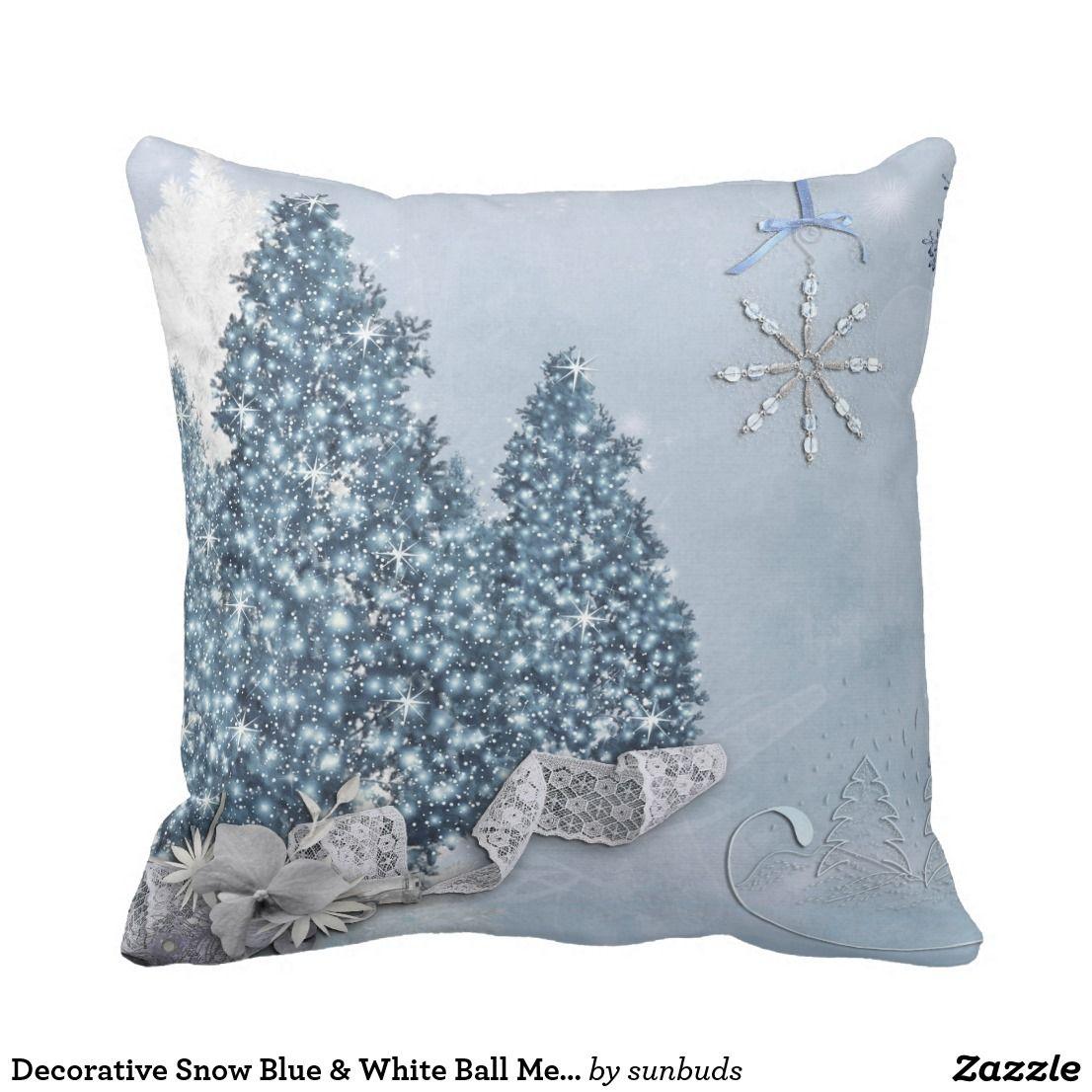 Decorative Snow Blue White Ball Merry Christmas Throw Pillow Zazzle Com Decorative Pillows Christmas Throw Pillows Christmas White Christmas Decor
