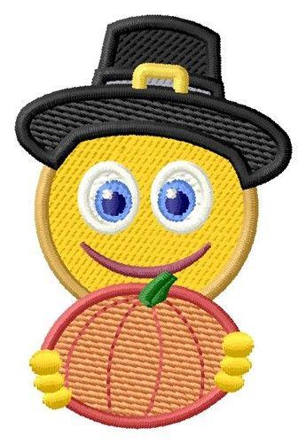 Happy Pilgrim Emoji 2 Sizes Machine Embroidery Design | Windmill