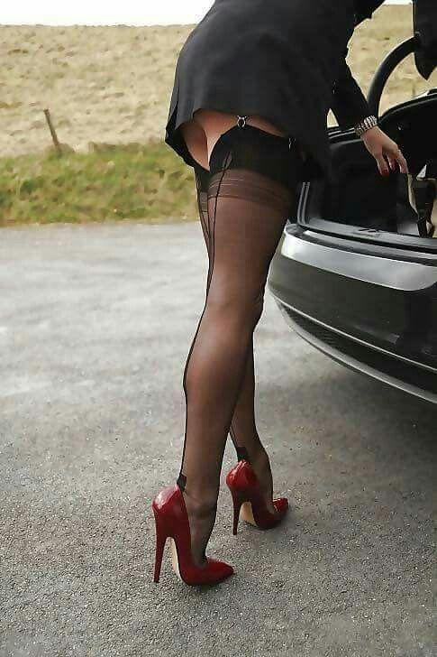 Women wearing stockings and heels