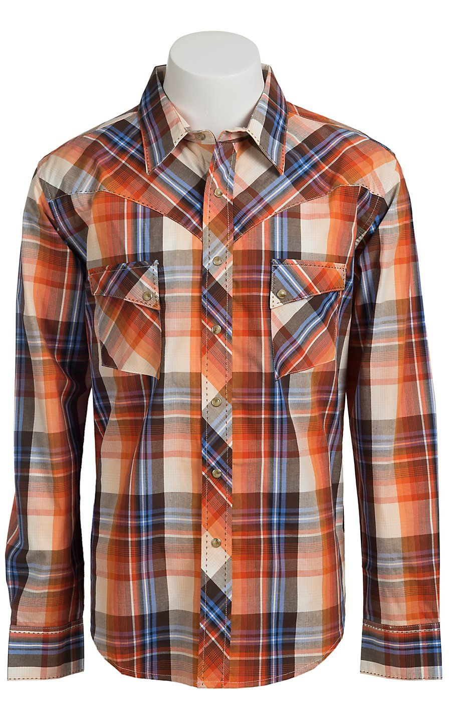 20c05b98 Wrangler Men's Vintage Blue, Orange, and Brown Plaid Western Shirt ...