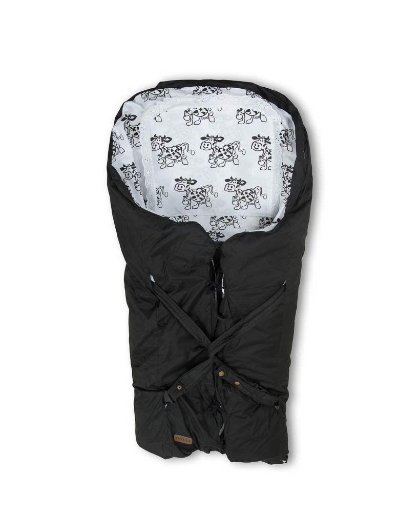 Babytrold / Trilleposen i sort med ko - Dun