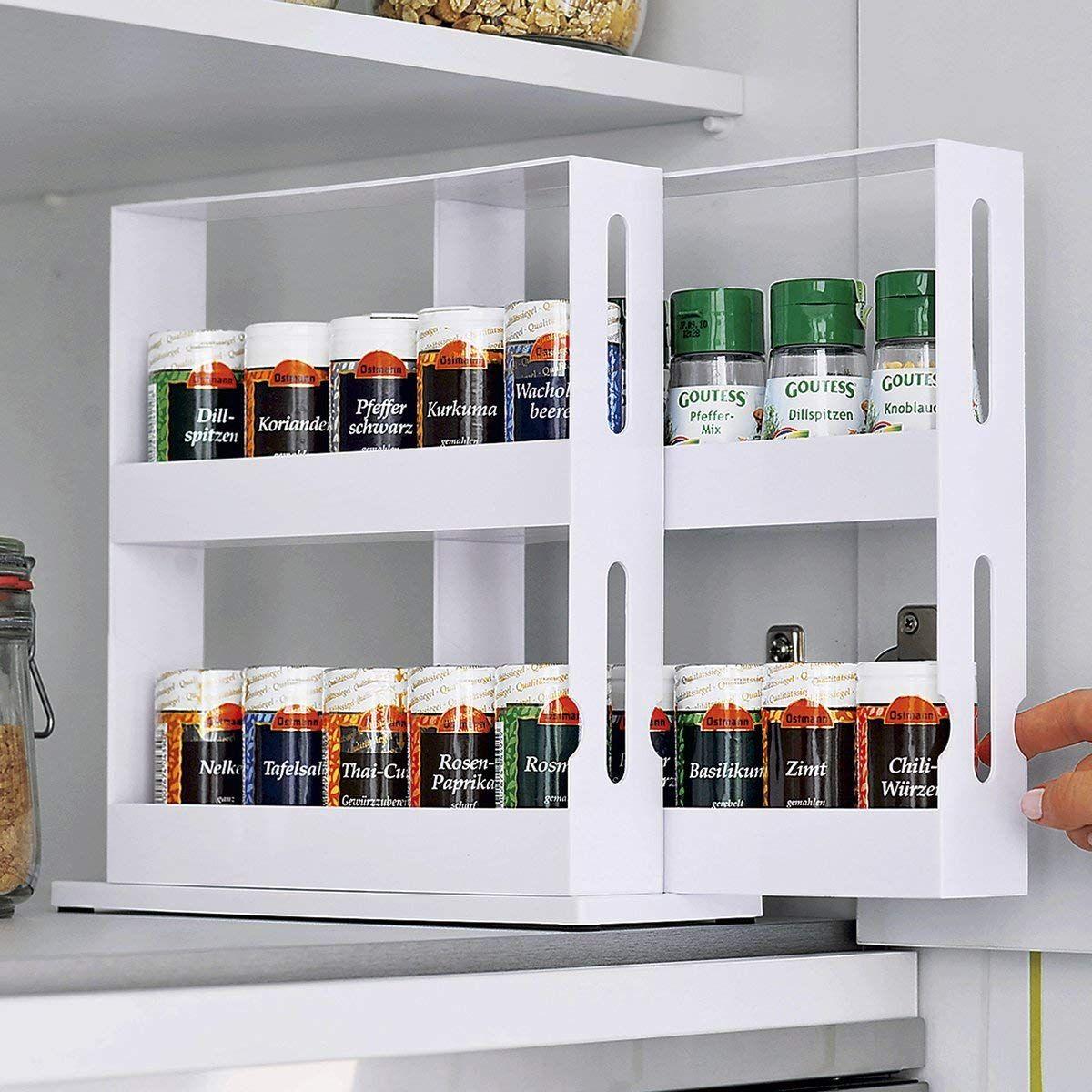 Küchenschränke in der garage genialo gewürzregal clou drehbarer gewürzständer für dosen und