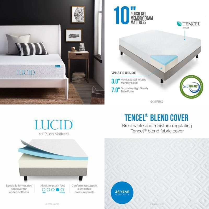 Lucid 10 Inch Plush Memory Foam Mattress Dual Layered Certipur