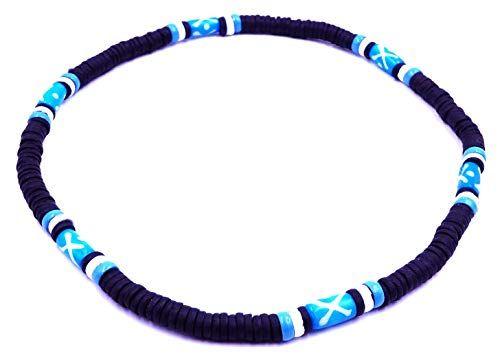 Collier Surfeur Surf Coco Ethnique Femme Homme bois perles ajustable bleu