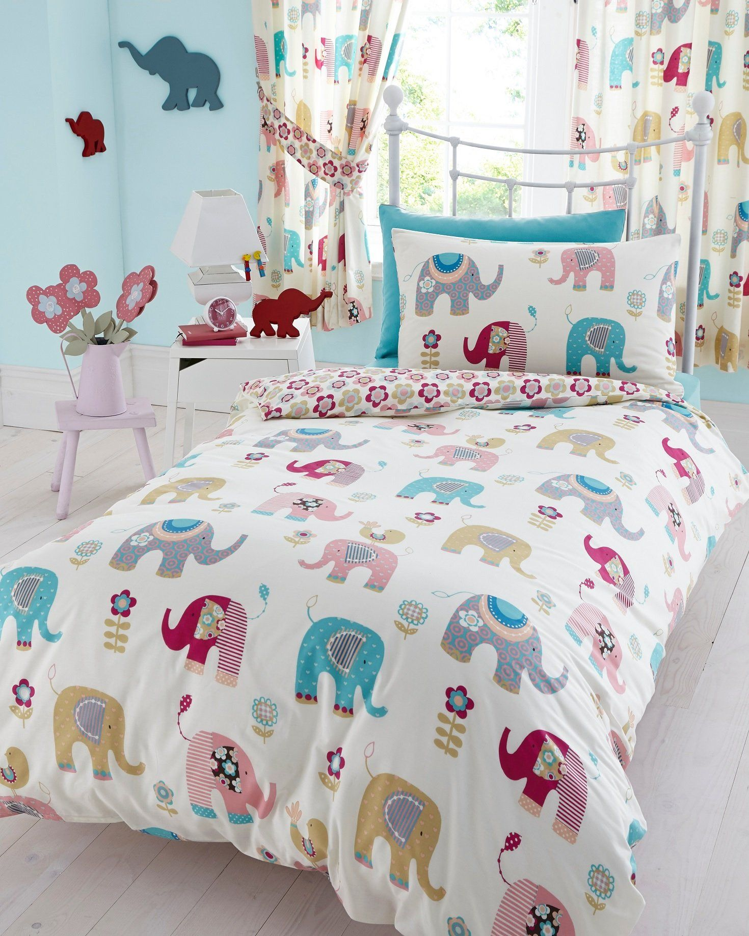 66 X 72 Jumbo Curtains Elephants Nellie Pink Blue Grey Green Flowers Elephant Duvet CoverElephant QuiltSingle CoverDuvet Cover SetsKids