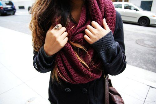 Red Chunky Knit Infinity Scarf #infinityscarf #scarf