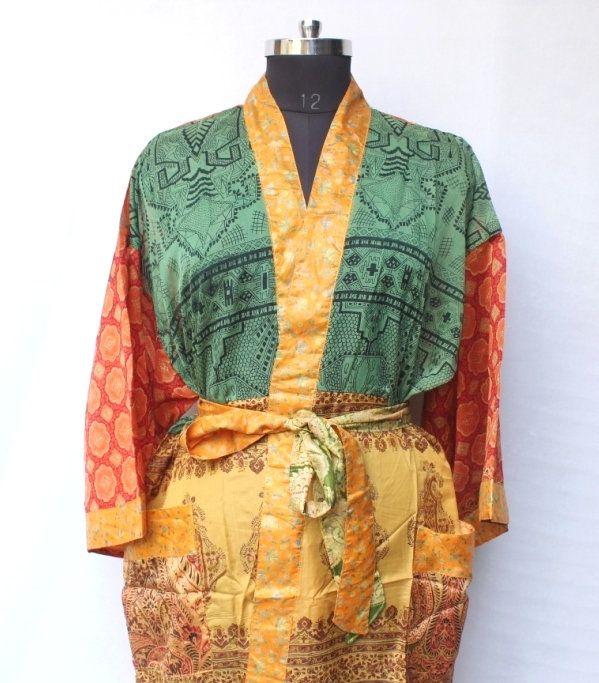 Photo of Vintage sari kimono, Bridal kimono dress, Recycled kimono, Beach wear robe, Saree kimono, High-quality Lingeries, Wedding kimono #MK 1033