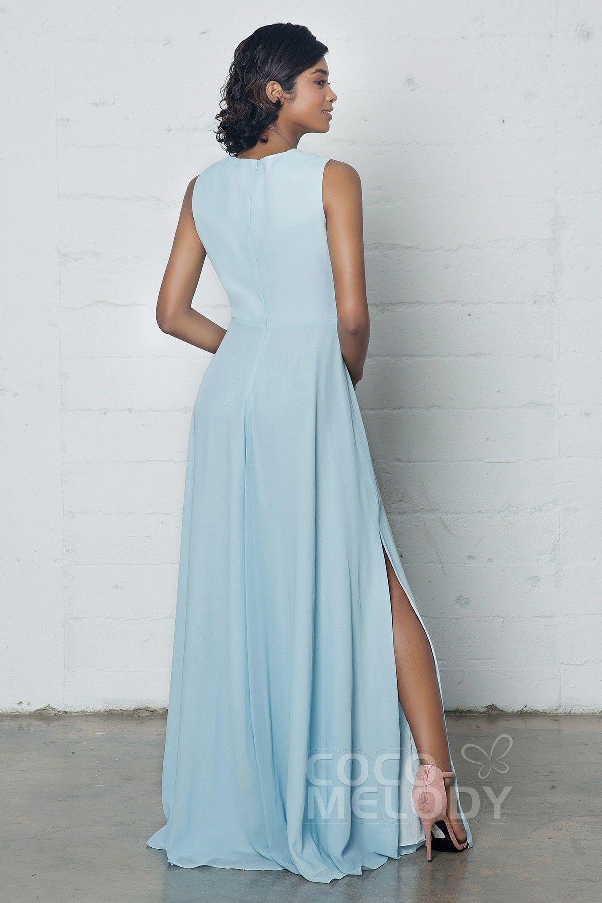 Charming Sheath-Column Jewel Natural Floor Length Chiffon Sleeveless Zipper Split PR17023#cocomelody #promdresses #party#dresses#