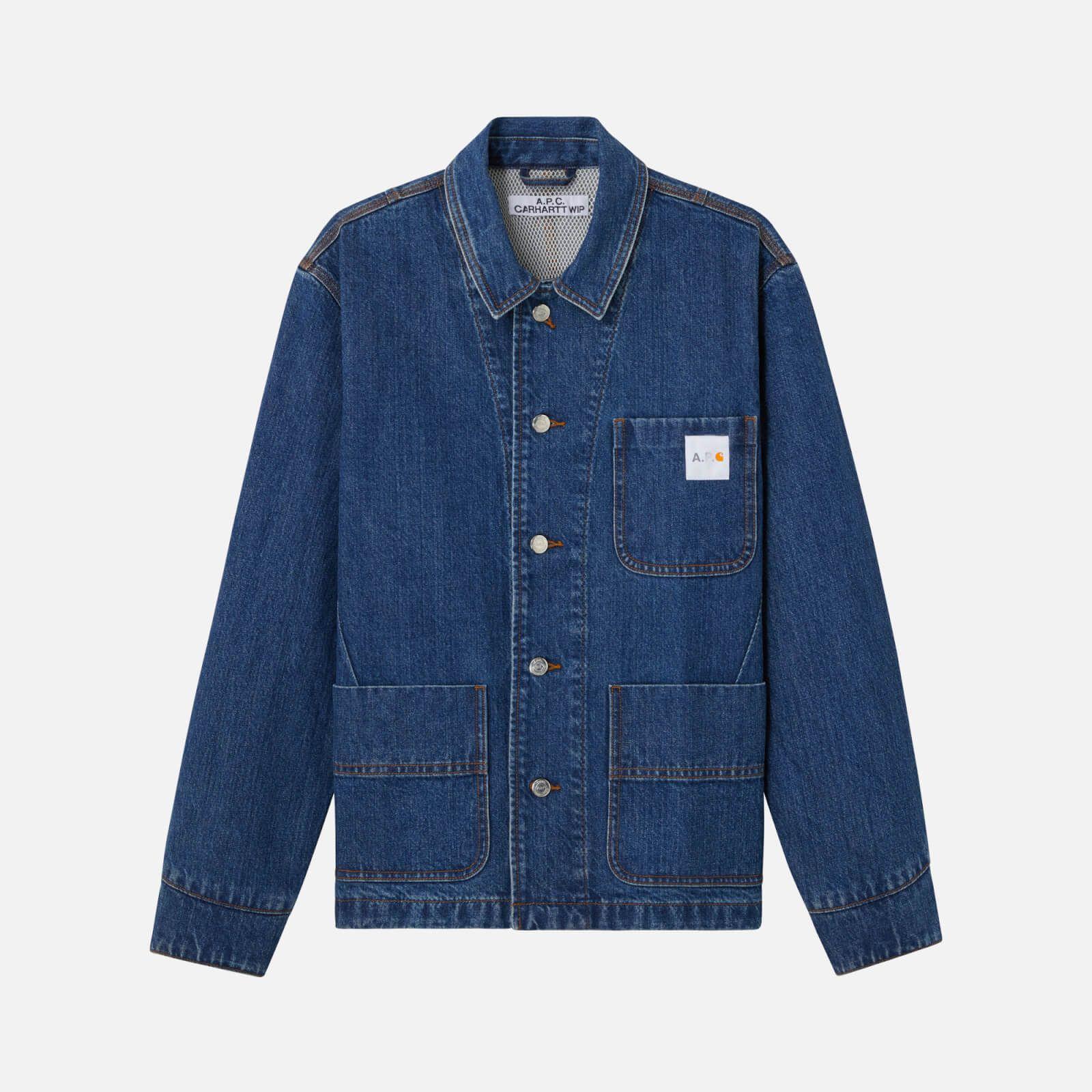 A P C X Carhartt Men S Overshirt Indigo Delave Affiliate Ad Men Carhartt Delave Carhartt Denim Jacket White Shirt Men Leather Bomber Jacket [ 1600 x 1600 Pixel ]