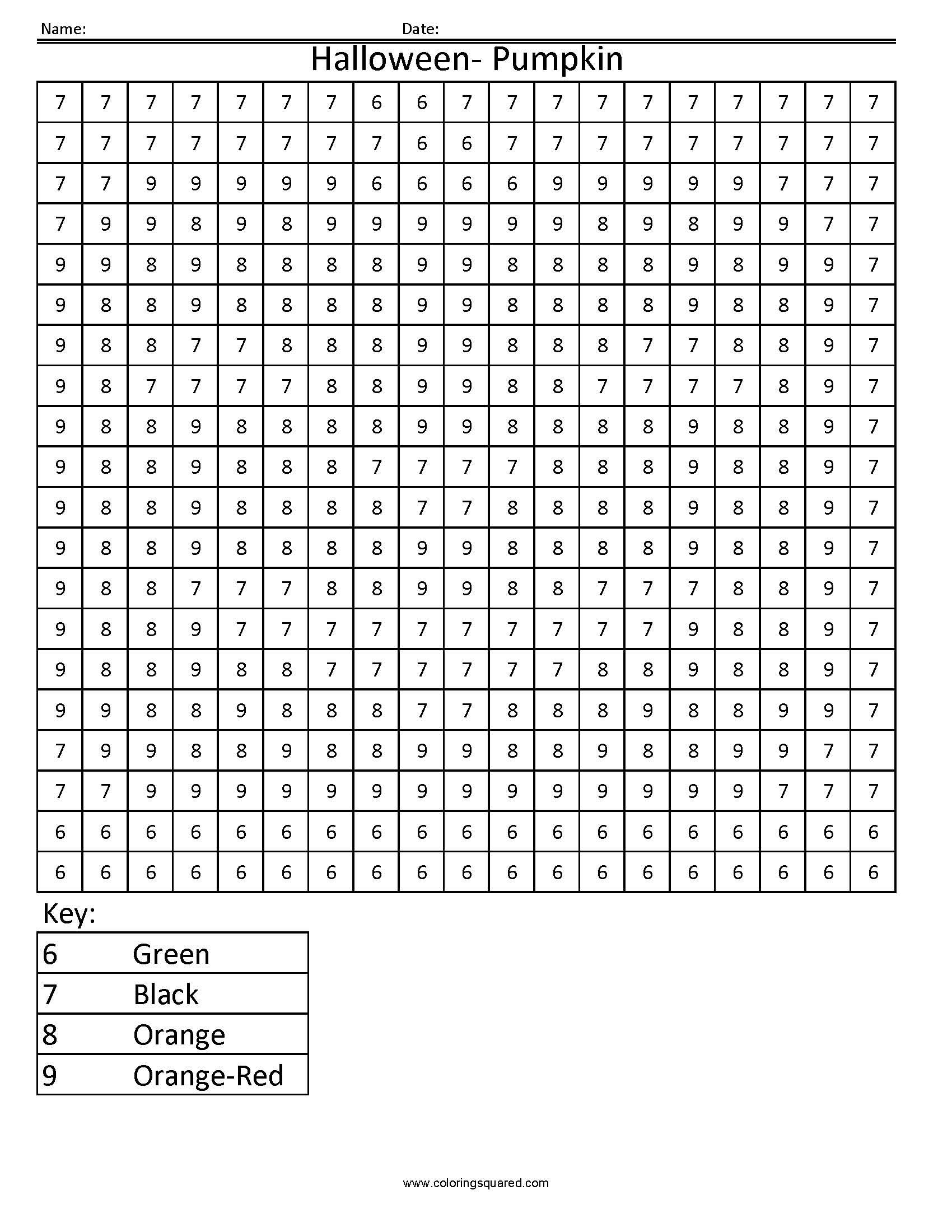 Halloween Pumpkin Holiday Color by Number – Color by Number Addition and Subtraction Worksheets