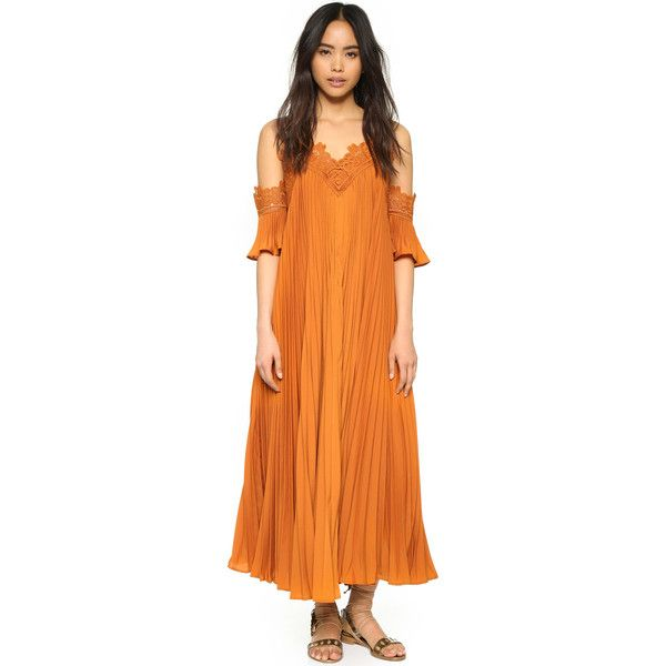 Self Portrait Pleated Cold Shoulder Gown ($690) ❤ liked on Polyvore featuring dresses, gowns, camel, orange gown, pleated maxi dress, draped maxi dress, short sleeve maxi dress and ruffle maxi dress