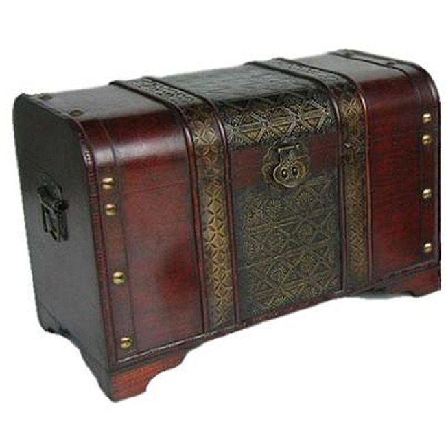 Old Fashioned Wood Storage Trunk Wooden Treasure Chest Enhanced Medium Size
