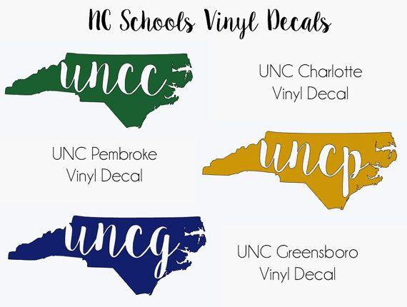 Nc college vinyl decals uncc decal uncp by accentsbyashleyhaze