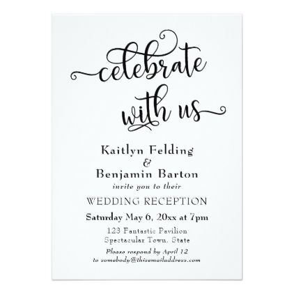 Celebrate With Us Typography Wedding Reception Card