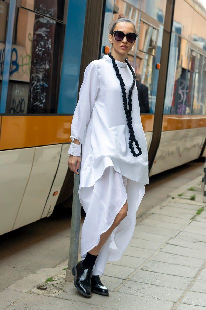 Asymmetrical  White Shirt Dress  Cotton Loose Dress Maxi White Blouse  Oversize Shirt Top  EXPRESS SHIPPING