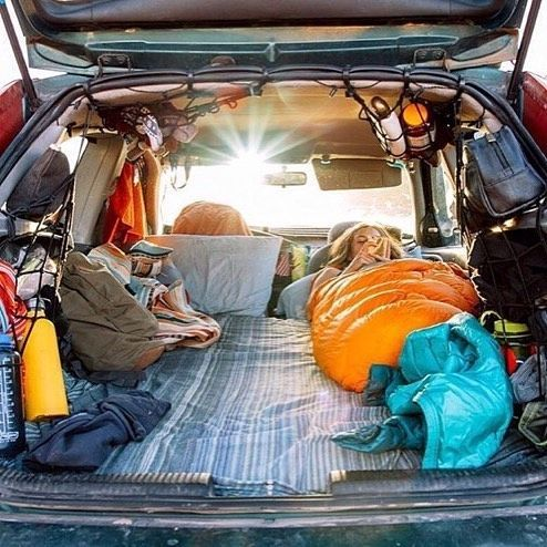 Camping Bed Set Up In The Back Of A Subaru Outback With Kids Size 5 Memory Foam Mattress For Month Long Road Trip Across Country Pinterest