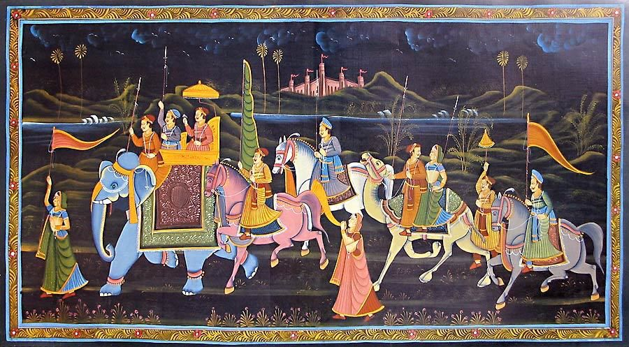 Image from http://www.dollsofindia.com/dollsofindiaimages/paintings3/mughal_procession_QD72_l.jpg.