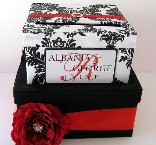 Custom Wedding Card Box Damask