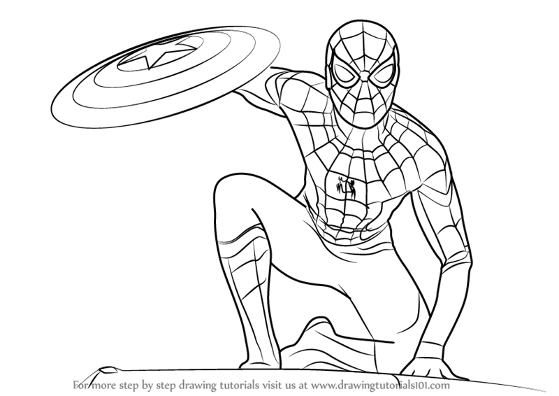 How To Draw Spiderman From Captain America Civil War Drawingtutorials101 Com Spiderman Drawing Spiderman Coloring Captain America Coloring Pages