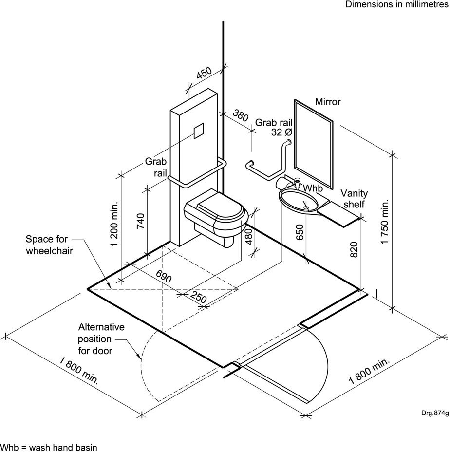 standard toilet dimensions from wall. Figure D 5  Layout of a typical wall hung toilet system with concealed