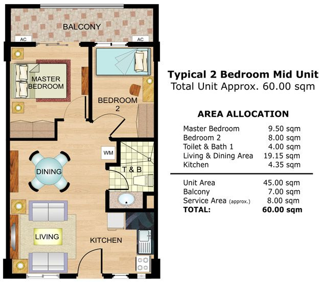 Cedar crest 2 bedroom middle unit floor plan realestate for 3 bedroom unit floor plans