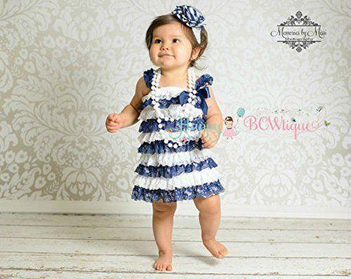 33753fd5a614 AmazonSmile  Girl s Flower Navy Stripe Blue Lace Dress set