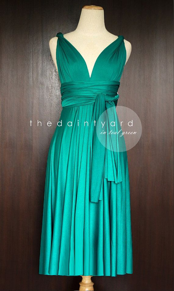 Short Straight Hem Teal Green Infinity Dress Multiway Dress Bridesmaid Dress Convertible Green Bridesmaid Dresses Multi Way Dress Asymmetrical Bridesmaid Dress