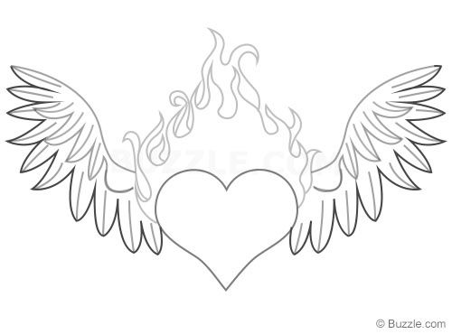 Heart Wings Flames Drawing Step 10 Heart Drawing Drawings Step By Step Drawing