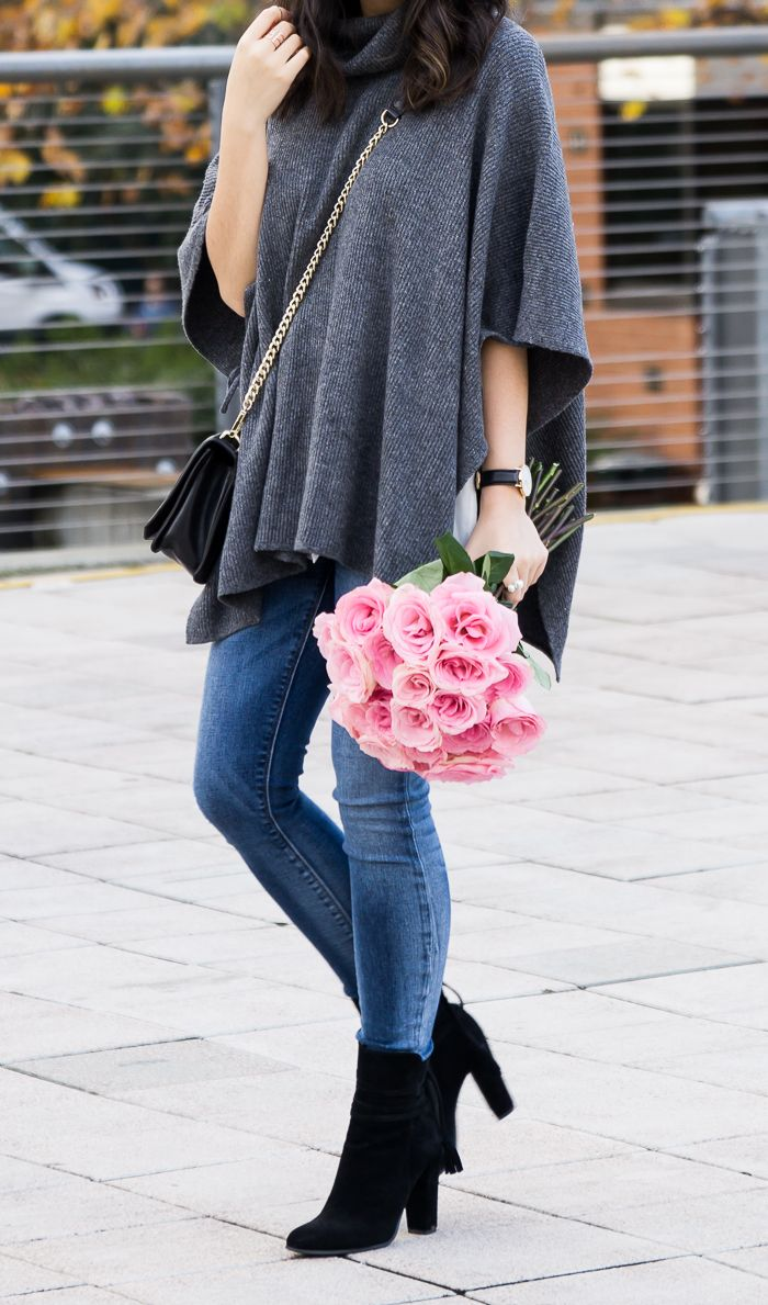 How To Wear A Poncho Sweater | Suede booties, Poncho sweater and ...
