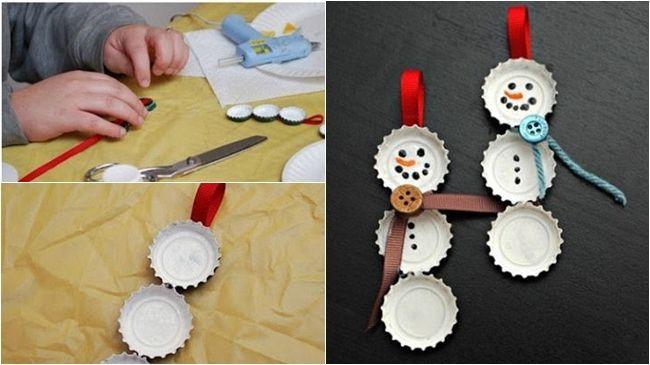 Muñeco de nieve con chapas, cinco manualidades de Navidad para niños