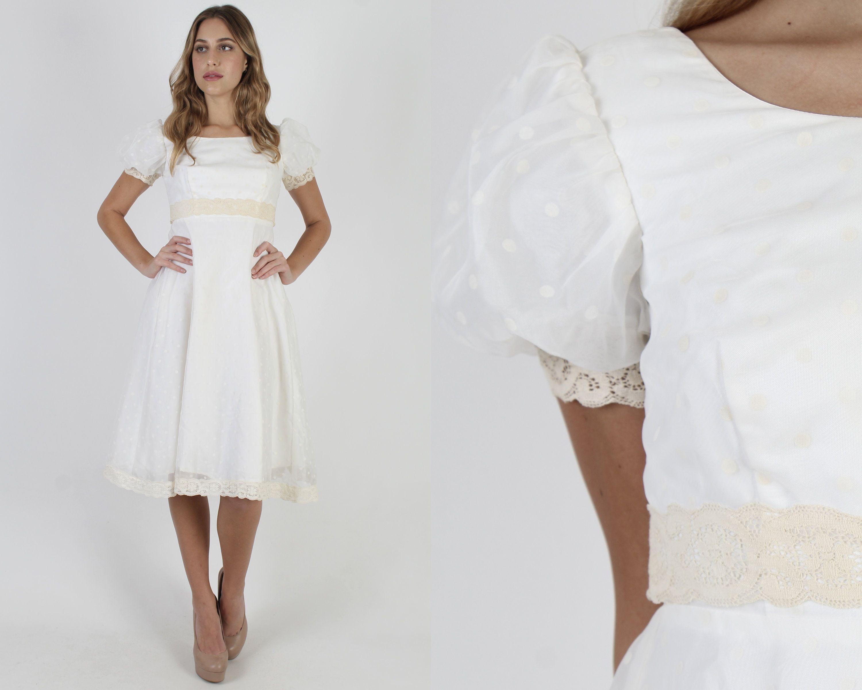 White Swiss Dot Mini Dress Puff Sleeve Polka Dot Dress Etsy Bridal Dresses Vintage Dresses Midi Dress Party [ 2400 x 3000 Pixel ]