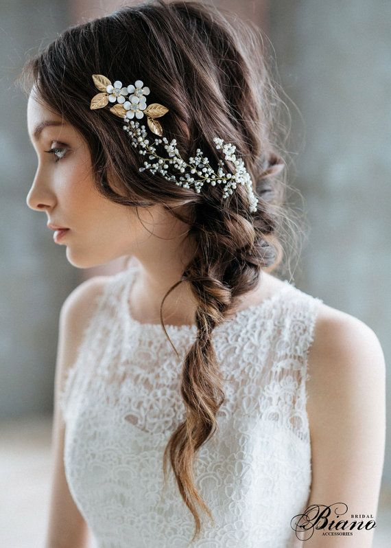 Bridal Headpiece Bridal Hair Vine Bridal Pearl Headpiece Wedding Wreath Wedding Headpiece Gold Leaves We Bridal Hair Pieces Hair Vine Wedding Hairstyles