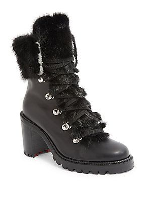 newest a1617 23dae Christian Louboutin Fanny 70 Fur & Leather Lace-Up Booties ...