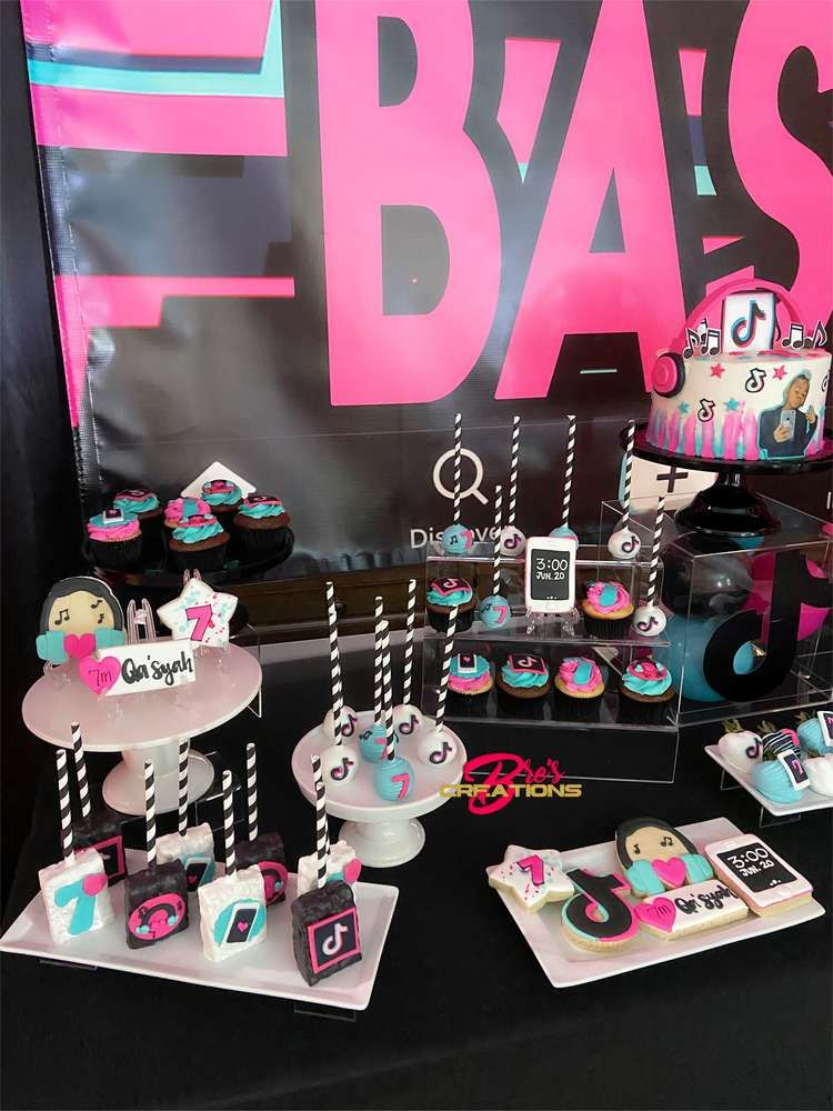 Tiktok Inspired Theme Birthday Party Ideas Photo 7 Of 27 Birthday Party Treats Birthday Party Set Birthday Party Design