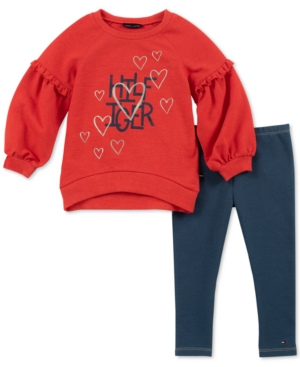 fc869a68b7cef Tommy Hilfiger Toddler Girls 2-Pc. Ruffle Top & Denim Leggings Set - Red 3T