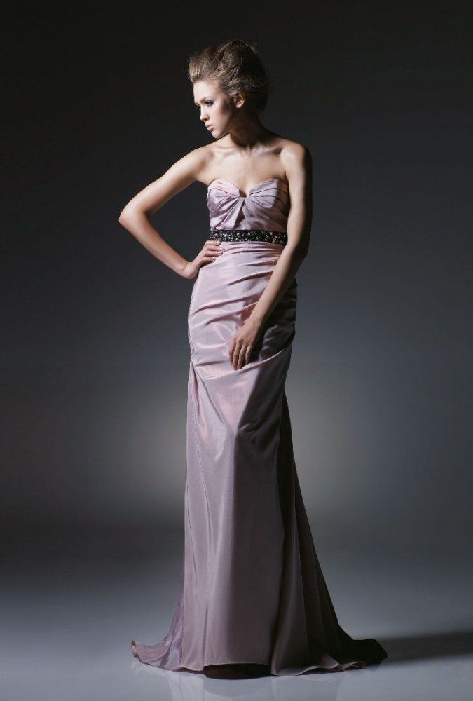 Sheath Sweetheart Ruche Bodice Beaded Waistband Taffeta Evening Dress-soe0015, $176.95
