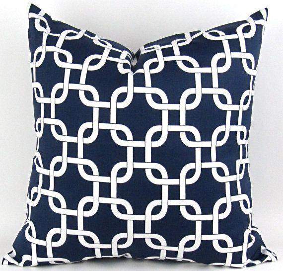 Navy Blue Chain Pillow Cover 18x18 White Fabric Nautical Geometric Rope Knot Throw Cushion Sham Premier Prints Free Ship On Etsy 20 00 Yastıklar