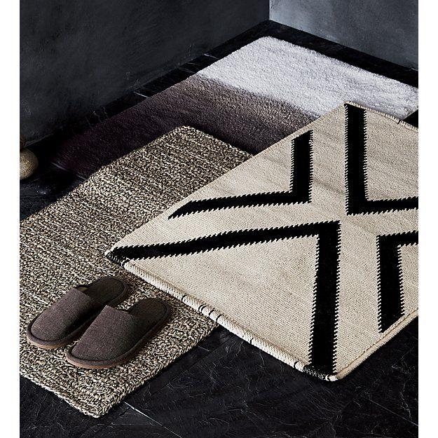 Hannah Reversible Linen Bath Mat Cb2 With Images Decorative