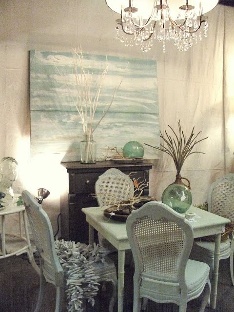 A Lovely Beachy Dining Room In Shades Of Cream And Pale Green We Like The Small Table Cane Back Chairs Repurposed Dresser As Sideboard