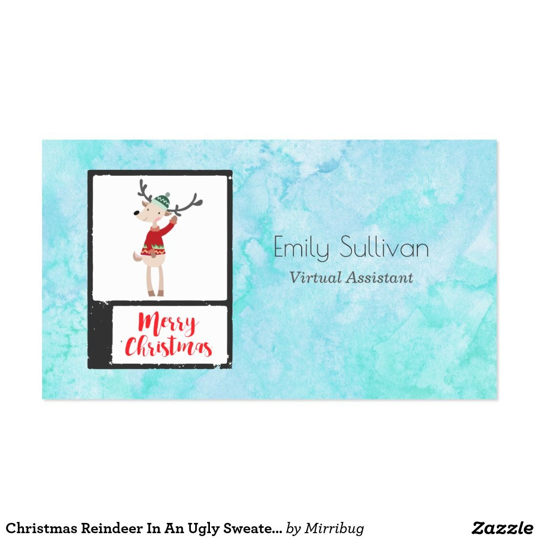 Christmas reindeer in an ugly sweater whimsical business card christmas reindeer in an ugly sweater whimsical business card colourmoves