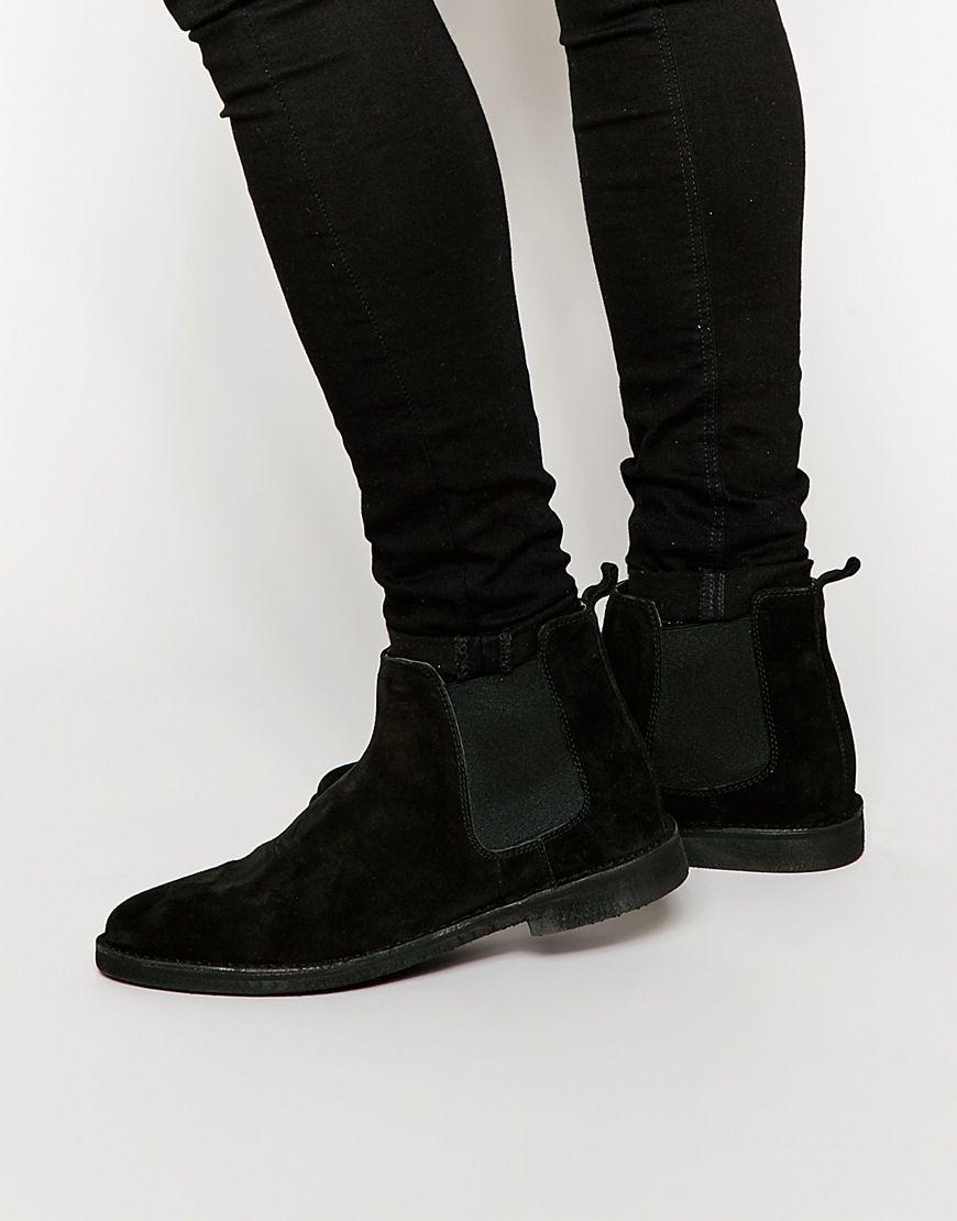 91d3e4c1c9f Chelsea Desert Boots in Black Suede | Schoenen | Black suede chelsea ...